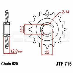 Zębatka przednia JT F715-13, 13Z, rozmiar 520 2200600 Gas Gas MC 250