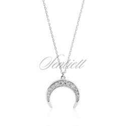 Srebrny naszyjnik pr.925 - księżyc z cyrkoniami