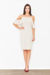 Beżowa ołówkowa sukienka na ramiączkach z falbaną