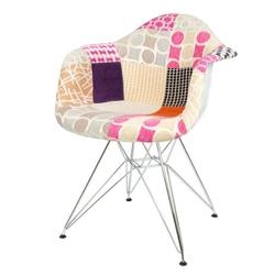 Nowoczesny fotel kr012f patchwork 7 chrom
