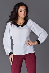 Elegancka ecru bluzka z retro kołnierzykiem