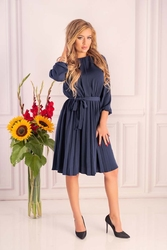 Granatowa  wizytowa sukienka z plisami z rękawem 34