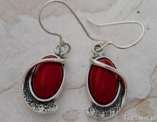 Murano - srebrne kolczyki z koralem i kryształkami