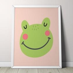 Żabka - plakat dla dzieci , wymiary - 70cm x 100cm, kolor ramki - biały