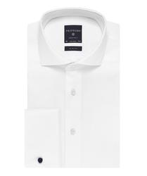 Elegancka biała koszula męska taliowana slim fit, mankiety na spinki 37
