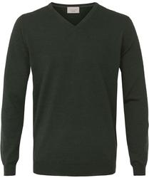 Sweter  pulower v-neck z wełny z merynosów w kolorze butelkowej zieleni xxl