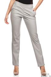 Szare Eleganckie Spodnie Rurki z Eko-skóry