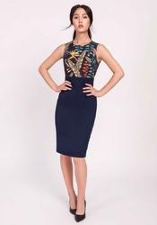 Granatowa klasyczna ołówkowa sukienka z łączonych materiałów