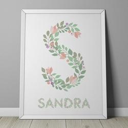 Kwiatowy inicjał + imię - personalizowany plakat w ramie , wymiary - 30cm x 40cm, kolor ramki - biały