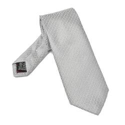 Szary jedwabny krawat van thorn w stalowy drobny wzór