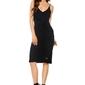 Czarna sukienka midi z asymetryczną falbanką