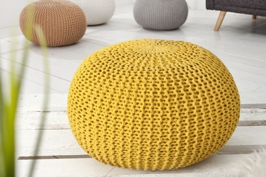 INTERIOR SPACE :: Puf Knitted Ball - żółty 50cm - żółty