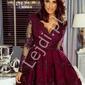 Rozkloszowana sukienka, eleganckie kreacje, wieczorowa  amelia burgund