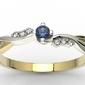 Pierścionek zaręczynowy z żółtego i białego złota z szafirem i diamentami 0,03 ct wzór ap-7009zb - żółte i białe  szafir