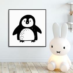 Sweet pinguin - plakat dla dzieci , wymiary - 90cm x 90cm, kolor ramki - biały