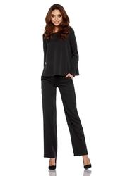 Czarny elegancki komplet bluzka + szerokie spodnie w kant