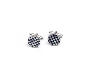 Eleganckie spinki do mankietów okrągłe w szachownicę z onyksu i masy perłowej