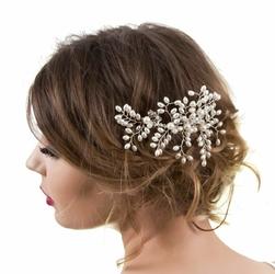 GRZEBIEŃ OZDOBA do włosów ŚLUBNA srebrna perłowa