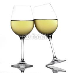 Naklejka samoprzylepna białe kieliszki do wina tworząc grzankę