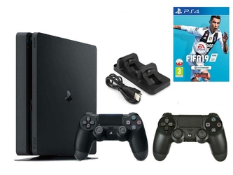 Konsola Sony PS4 1TB Slim + 2 Pady + FIFA 19 + Ładowarka