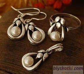 Clara - srebrny komplet z perłami