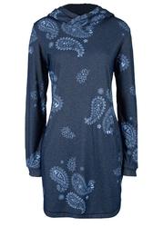 Sukienka dresowa ocieplana, z nadrukiem bonprix niebieski z nadrukiem paisley