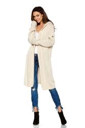 Beżowy płaszczowy niezapinany kardigan z kapturem