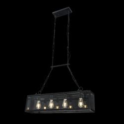 Lampa wisząca - metalowa klatka na cztery żarówki delphi maytoni loft t354-pl-04-b