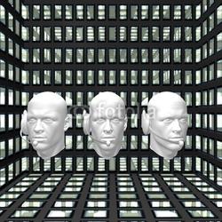 Naklejka samoprzylepna cyber mężczyzn głowy z słuchawek