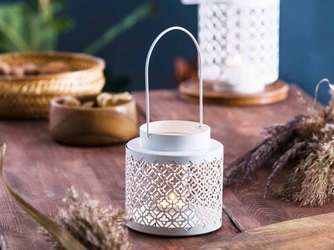 Latarenka  latarnia lampion ozdobny wiszący metalowy altom design ażurowa okrągła biała 12,2 x 11,8 cm