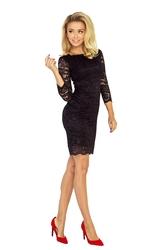 Czarna sukienka koronkowa  z rękawem 34 bodycon