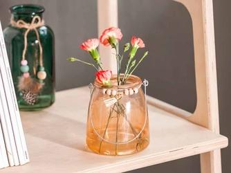 Świecznik ze słoika szklany altom design z zawieszką łososiowy 13 cm
