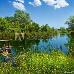 Obraz na płótnie canvas czteroczęściowy tetraptyk letni krajobraz