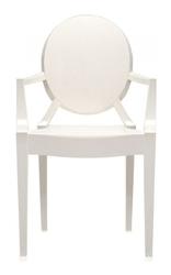 Krzesło Lou Lou Ghost nieprzeźroczyste lśniąca biel