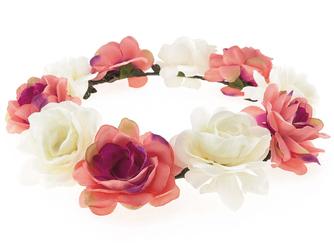 WIANEK. Opaska do włosów duże KWIATY. róż biel - róż i brzoskwinia