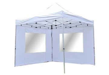Namiot ogrodowy 3x3 m automatyczny, biały pawilon handlowy z 4 ściankami