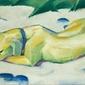 Reprodukcja dog lying in the snow, franz marc