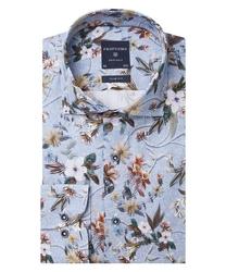 Niebieska koszula profuomo w kwiecisty wzór slim fit 37
