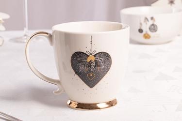 Duży kubek na stopce  filiżanka jumbo porcelanowa święta boże narodzenie altom design moja gwiazdka 400 ml, dekoracja serce