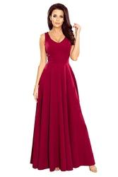 Złota maxi wieczorowa sukienka rozkloszowana  z dekoltem v