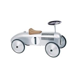 Metalowy jeździk srebrna wyścigówka retro