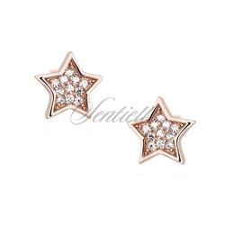 Srebrne kolczyki pr. 925 gwiazdki z cyrkoniami - różowe złoto - różowe złoto