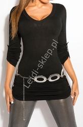 Dzianinowa bluzka z podwijanymi rękawkami | czarny sweter 8011