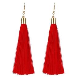 Kolczyki długie wiszące frędzle chwost czerwone - czerwone