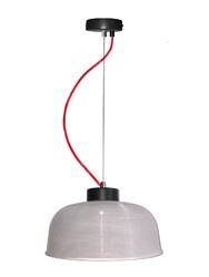 Lampa wisząca liverpool ii m przezroczyste szkło, czerwony kabel