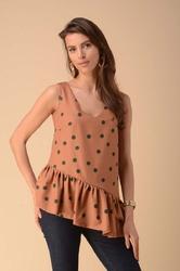 Asymetryczna bluzka top z falbanką - kamelowa