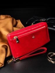 Portfel damski na zamek czerwony milano design - czerwony
