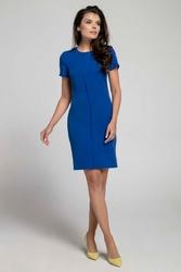Granatowa stylowa dopasowana sukienka z pionową plisą na przodzie