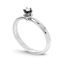 Staviori pierścionek z czarnym brylantem mephisto, szlif brylantowy, masa 0,10 ct.. białe złoto 0,585.