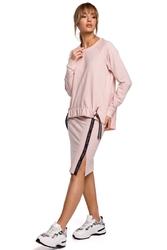Asymetryczna bluza z lampasami - różowa